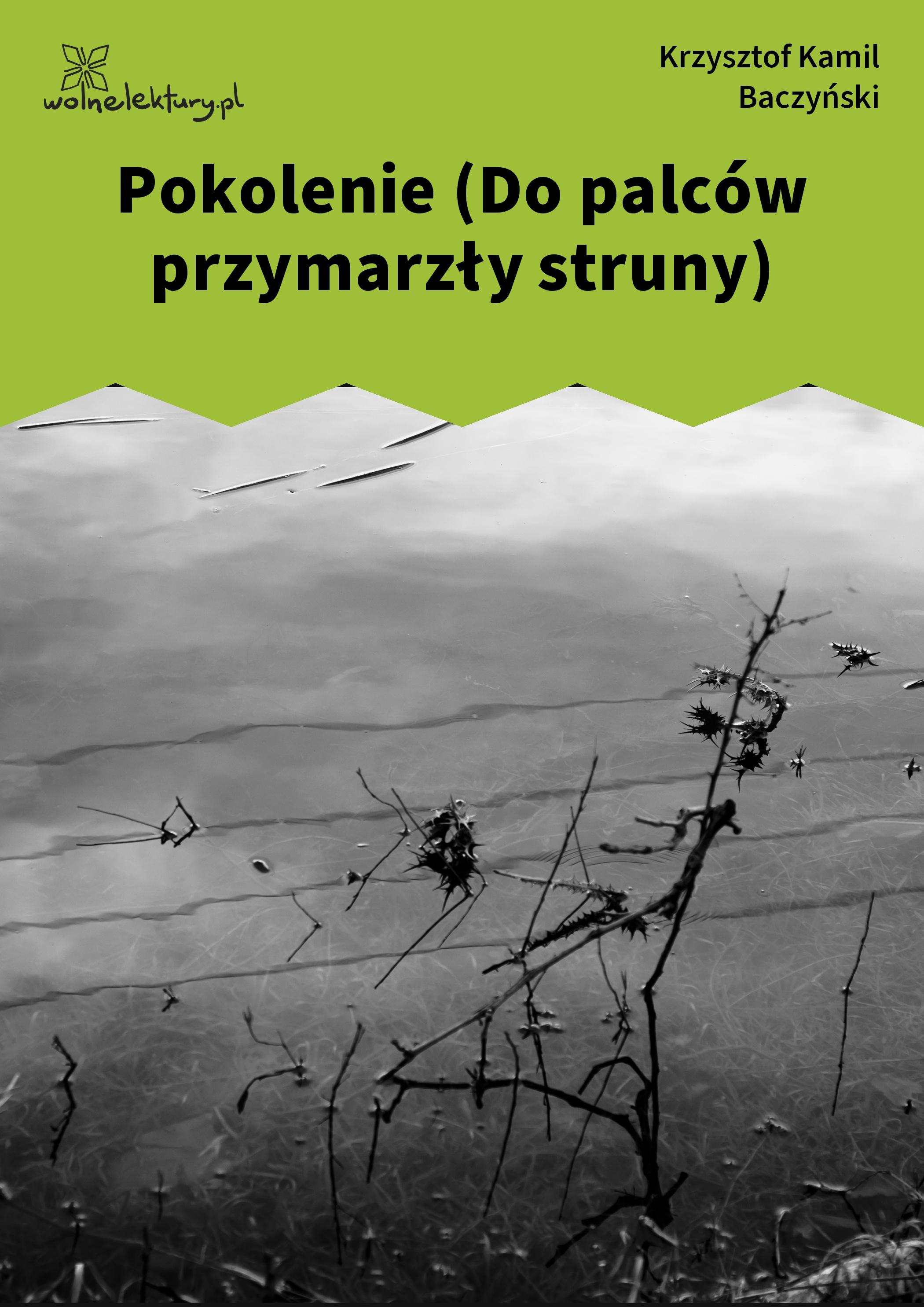 Krzysztof Kamil Baczyński Pokolenie Do Palców Przymarzły